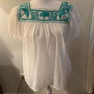 Collective concepts puff sleeve boho blouse